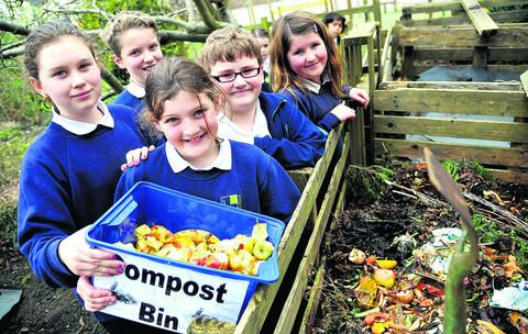 Lethbridge School are taking part in National Waste Week as part of their eco-schools award. From left are eco-warriors Delia, Peter, Lucy, Myles and Scarlett