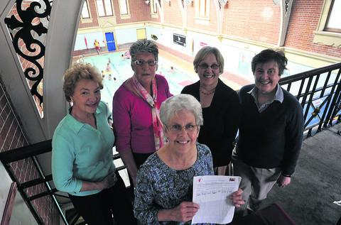 This Is Wiltshire: Anne Tottingham, front, with friends Sandra Salmons, Joan Gifford, Sharron Hudson and Marilyn Newell at Westbury Pool, where they are doing sponsored swim this Sunday
