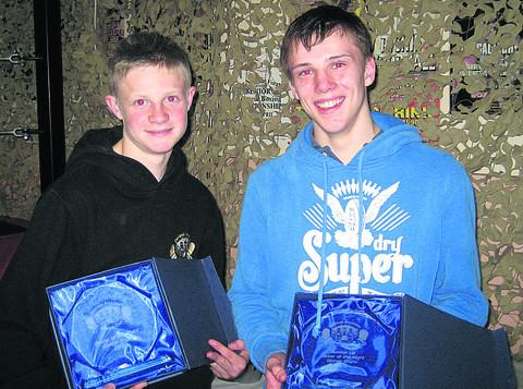 This Is Wiltshire: Ashley Wilkins, left, and Josh Lyons, right, and their trophies for the best boxers of the night