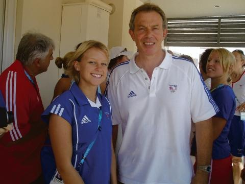 Meeting the PM – Tracey with former Prime Minister Tony Blair in Athens