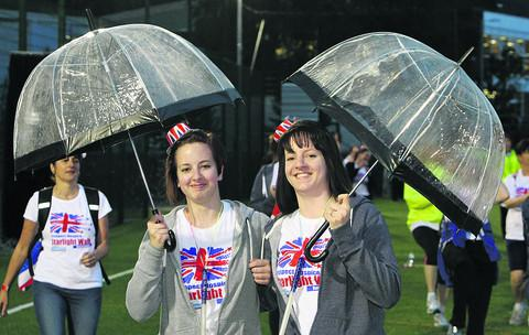 This Is Wiltshire: Katie and Danii Goodings at the start of the Starlight Walk for Prospect Hospice
