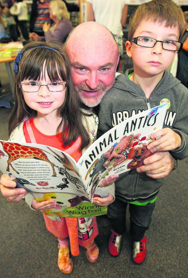 Isobel and Joseph Dace-Browne with author Neil Griffiths