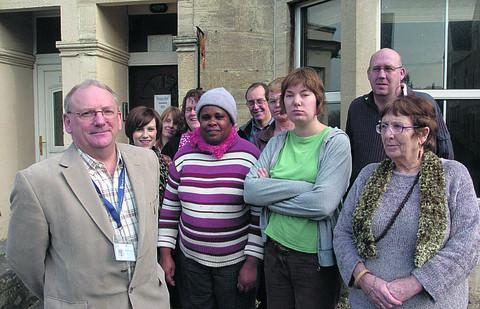This Is Wiltshire: Tony Butler, CEO of Wiltshire Mind, with staff and clients at the charity's Trowbridge base