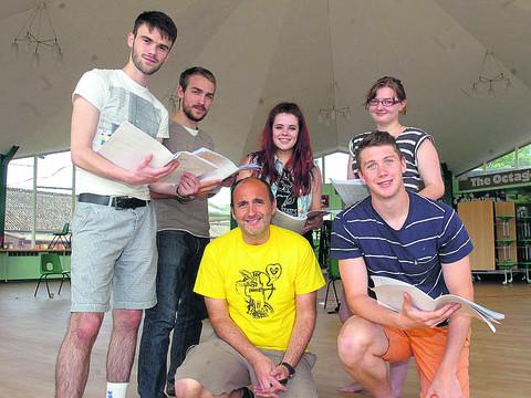 This Is Wiltshire: Duncan Ellis, centre, is taking Sam Sellicks-Chivers, Sterne, Carla Moreno, Clara Halse and Oliver Harris to the Edinburgh Festival