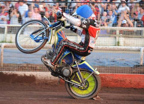 Jason Doyle celebrates a heat win