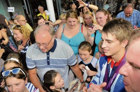 This Is Wiltshire: Mobbed - Max Whitlock gets a hero's welcome as he returns to the Basildon Sporting Village.