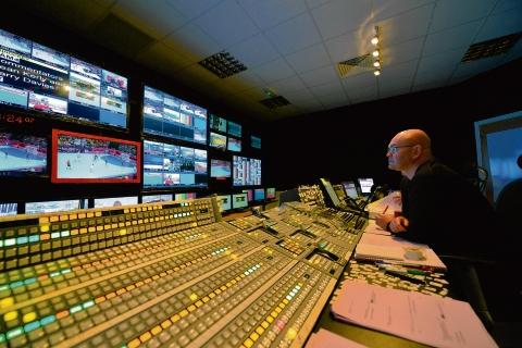 In the control - Phil Bigwood directing things from the BBC studio at the Olympic Park