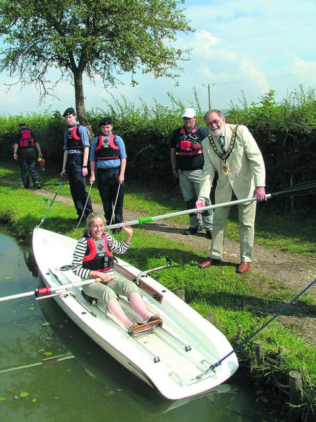 This Is Wiltshire: Sea cadets look on as Councillor Mike Leighfield, mayor of