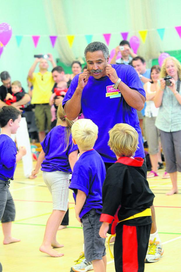 This Is Wiltshire: Daley Thompson during his visit to the group