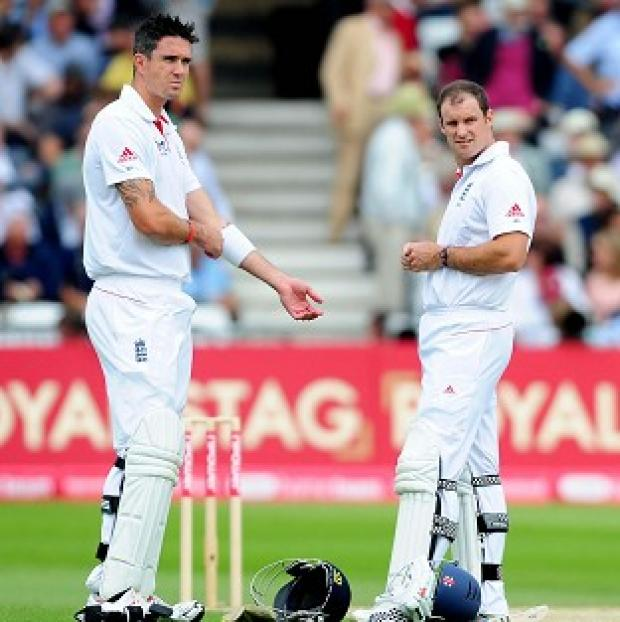 This Is Wiltshire: England's Andrew Strauss, right, has no plans to talk with Kevin Pietersen, left, any time soon
