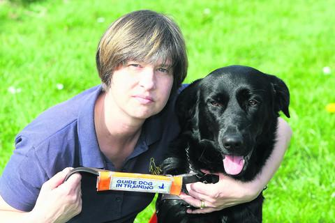 Grace with her guide dog mobility assistant Philippa Davidson who was walking her at the time of the incident