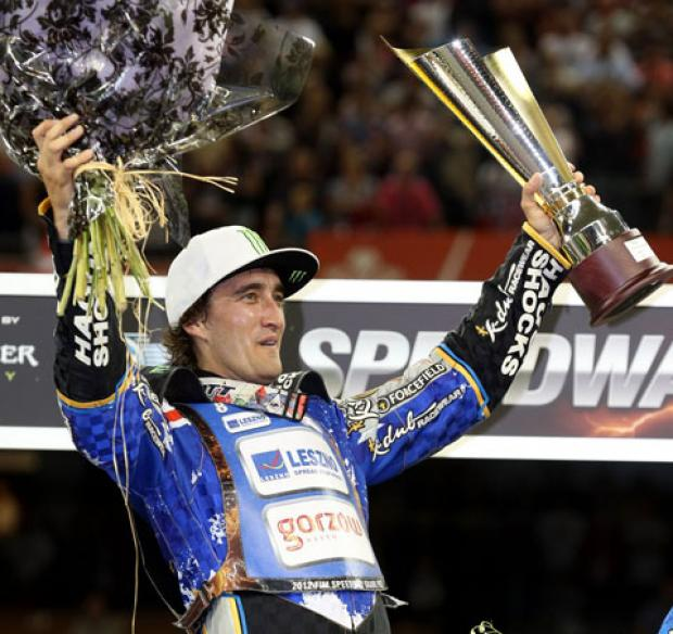 VICTORY: Chris Holder celebrates at the Millennium Stadium