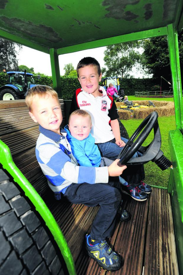 This Is Wiltshire: George, Max and Charlie Weston 'drive' Tractor Ted