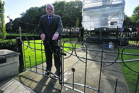 This Is Wiltshire: Major Peter Williams of Trowbridge Royal British Legion at the vandalised gates