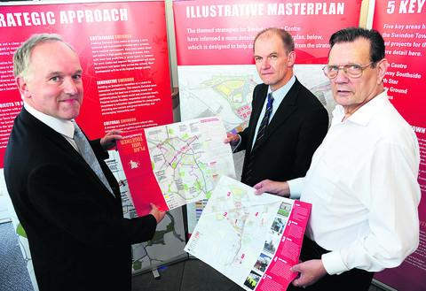 This Is Wiltshire: Council leader Rod Bluh, Forward Swindon chief executive Ian Piper and Coun Garry Perkins, cabinet member for regeneration and culture