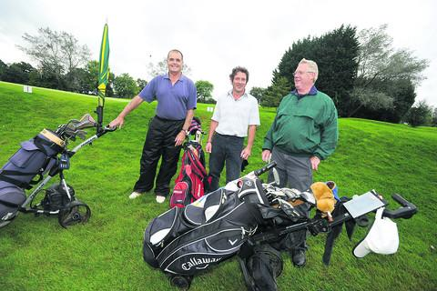 This Is Wiltshire: Garry Barlett, Dennis Morgan and Tom Doyle at the charity golf day