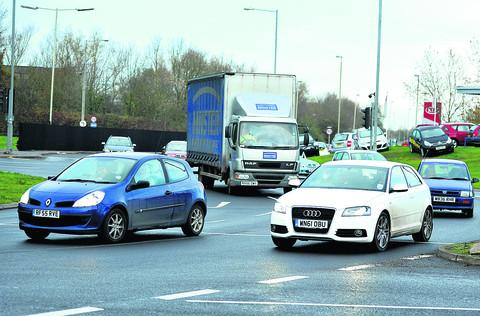 Mannington Roundabout where part-time traffic lights have been tried out;