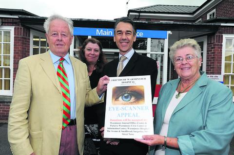 This Is Wiltshire: Charles Lane, chairman of the Friends of Warminster Hospital, with consultant Meon Lamont, vice-chairman Pauline Scott and, back, medical secretary Jeanette Cheshire