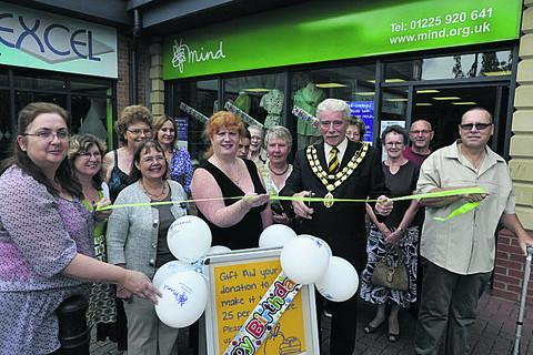 This Is Wiltshire: Trowbridge mayor John Knight was  welcomed by Shop Manager Lisa Lee, staff and local volunteers