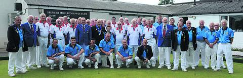 This Is Wiltshire: The Spencer Moulton and Bowls England teams at Moulton's centenary match