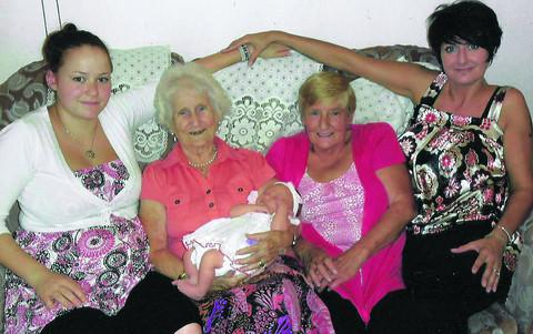 This Is Wiltshire: Dorothy Pinnell, 92, holding latest arrival Ava Hurkett with, from left, Rhianne Hurkett, Sharyn Edmonds and Pauline Hurkett