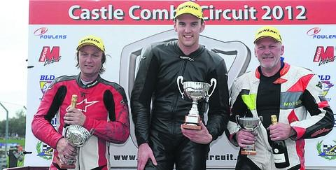 This Is Wiltshire: TOP THREE: In the championship 250 race at Castle Combe are (l-r): Darrell Higgins (second), Daniel Jackson (winner) and third placed Roy Keen