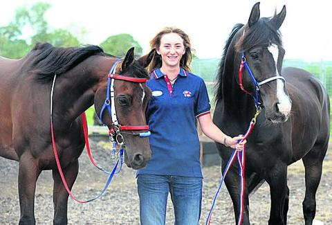 This Is Wiltshire: Carri-Ann Dark, who will compete in the European Endurance Championships, with Vavavoom (left) and Sovereign at her home in Little Cheverell