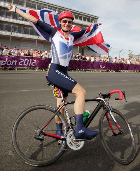 Storey celebrates her road race win