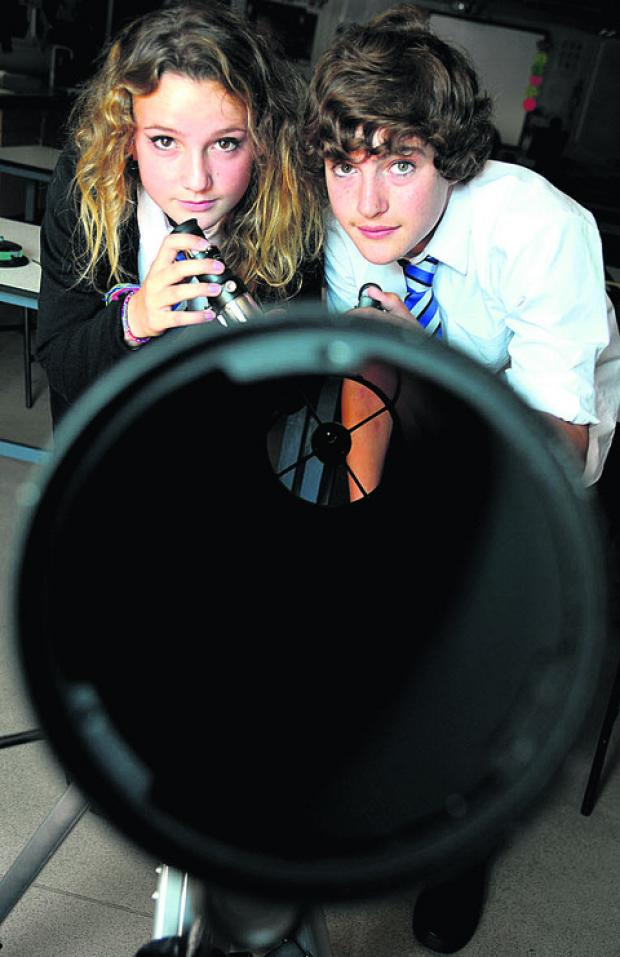 Astronomy students Olivia Gibbs and Tom Jackson
