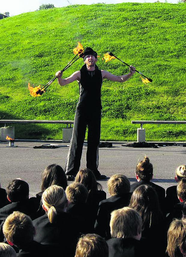 This Is Wiltshire: Fire-eater Steve Brown goes through his paces