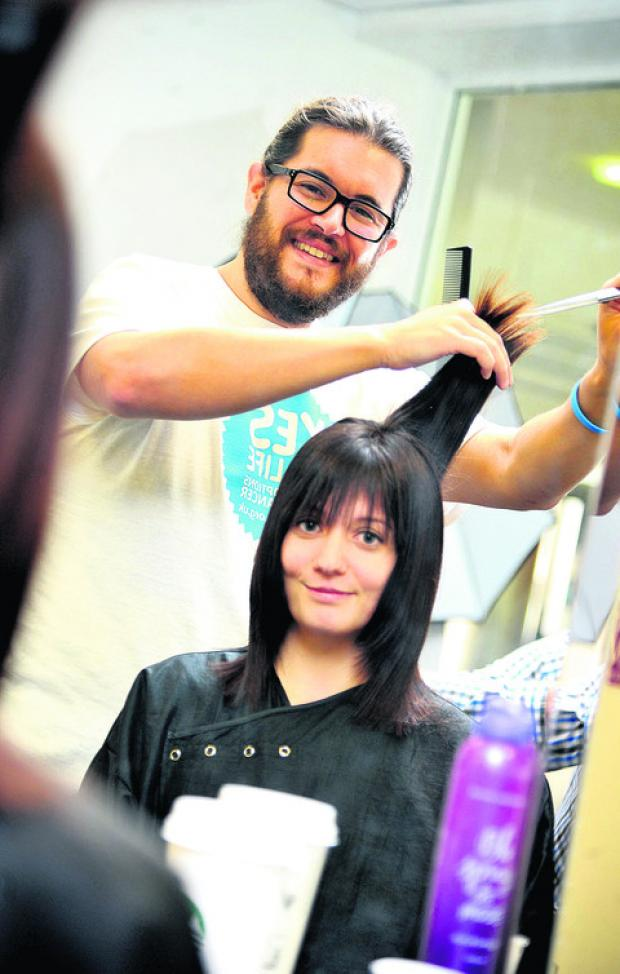 This Is Wiltshire: Chris Miller cutting Tami's sister's Heidi Beales' hair
