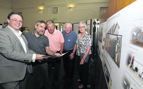 This Is Wiltshire: Architect Kevin Murphy, left, with hall users Phil Courage of The Bradfordians, John Holmes of the Film Society, Bruce Hersee of Bradford on Avon Lions and Gill Winfield of Save the Children