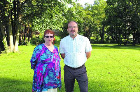 Councillors Desna Allen and Pete Hutton at Monkton Park