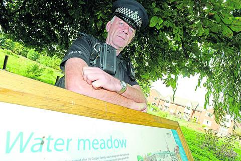 This Is Wiltshire: VIGILANT: PC Jeremy Batchelor says police patrols of Coopers Meadow in Marlborough are being stepped up