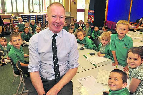 This Is Wiltshire: David Ross with pupils at Bitham Brook Primary School