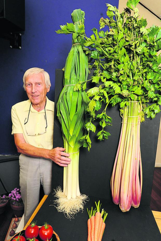This Is Wiltshire: Overall vegetable winner Don Hyde with giant leeks and celery