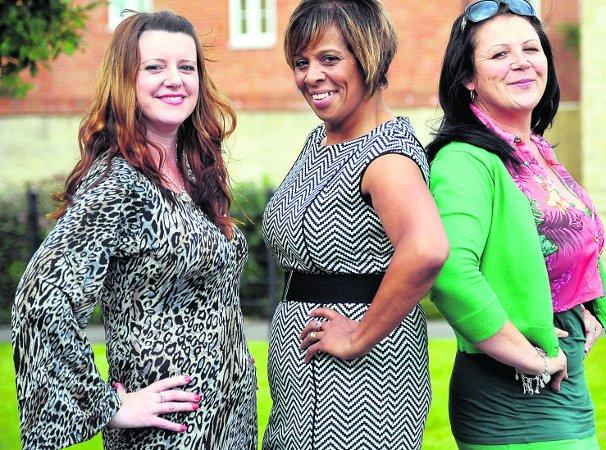This Is Wiltshire: Slimming stars From left, Ressa Goring, Olive Hartley and Lisa Whiting; and below in the same order before they lost weight  Picture: James Douglas
