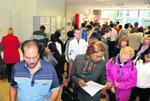 Crowds at the Swindon Advertiser Jobs Fair yesterday