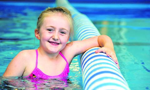 This Is Wiltshire: Six-year-old Cerys Jenkins is doing a sponsored swim in memory of her grandfather Tony Sheen