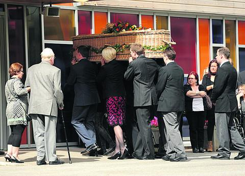 Jenni Manner's coffin is taken into Kingsdown Cemetery