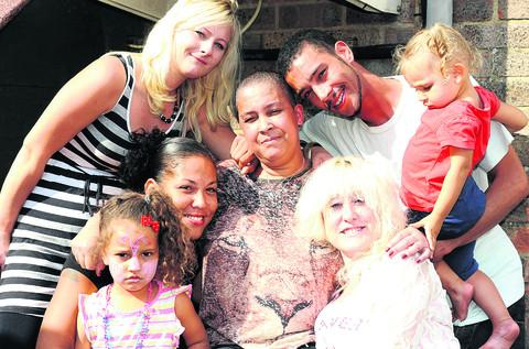 This Is Wiltshire: Susan Nicholson, centre, with friends and family, clockwise from bottom, Taleah Ni