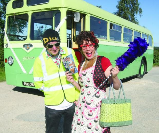 This Is Wiltshire: Time to rhyme Hilda Seehan and Michael Scott promoting the poetry festival bus tour next month with a bus from AD Rains Coaches, Brinkworth        Picture: STUART HARRISON