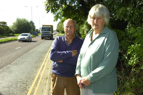This Is Wiltshire: George and Muriel Walton are calling for a single carriageway alongside Caen Hill Road