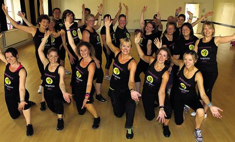 Becky Browning and some her group preparing for Sunday's Zumbathon at St Aldhelms Mead