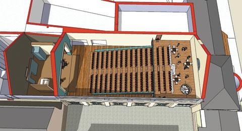 An artist's cutaway showing how the redeveloped Neeld Hall will look after its £1.2m facelift