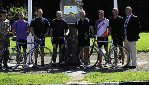 This Is Wiltshire: Some of the servicemen who cycled for the Royal British Legion, National Memorial Arboretum and Armed Forces Benevolent Fund