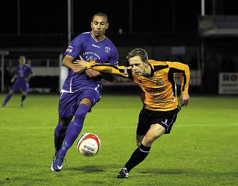 This Is Wiltshire: Dean Griffiths in action against Bashley on Tuesday (Photo: Robin Foster)