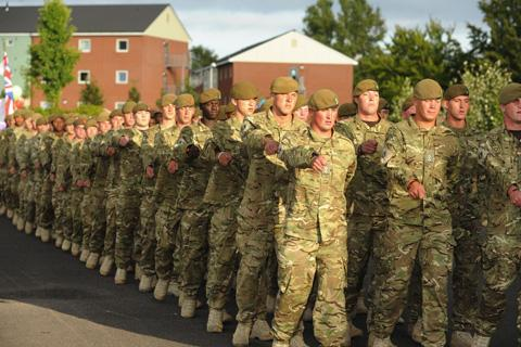 This Is Wiltshire: 3 Yorks soldiers parading after their return from Afghanistan last week