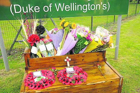 Tributes at Battlesbury Barracks to Sgt Gareth Thursby and Pte Thomas Wroe