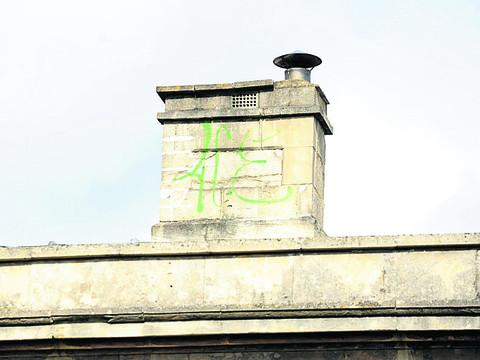 This Is Wiltshire: Vandals leave tags on roof of museum